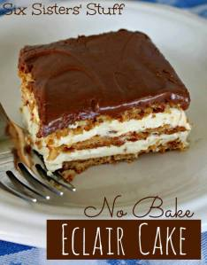 No Bake Eclair Cake Ingredients: 2x pcts Tennis biscuits 2 vanilla instant pudding 3 1/2 cups milk (I used skim) 250ml Orley whip Ingredients for the frosting: 3 tablespoons of Cocoa 1 1/2 cups Icing sugar 3 tablespoons of butter (room temperature) 3 tablespoons of warm milk Mix above ingredients till smooth. Add more Icing sugar if you like the frosting a little thicker. If it's too thick, just add a little more milk. Directions: Mix pudding and milk in a bowl. Blend together for about 2 minutes then fold in the cool whip. Spray a 9 x 13 pan with non-stick spray. Place a layer of whole Tennis Biscuits on the bottom, then top with 1/2 the pudding. Cover pudding with another layer of Tennis Biscuits, top with remaining pudding and another layer of Tennis Biscuits, then carefully spread the frosting on the biscuits. Chill over night or for at least 8 hours.